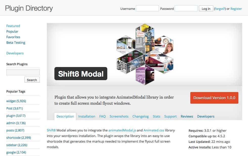 Wordpress plugin to create animated full screen modal