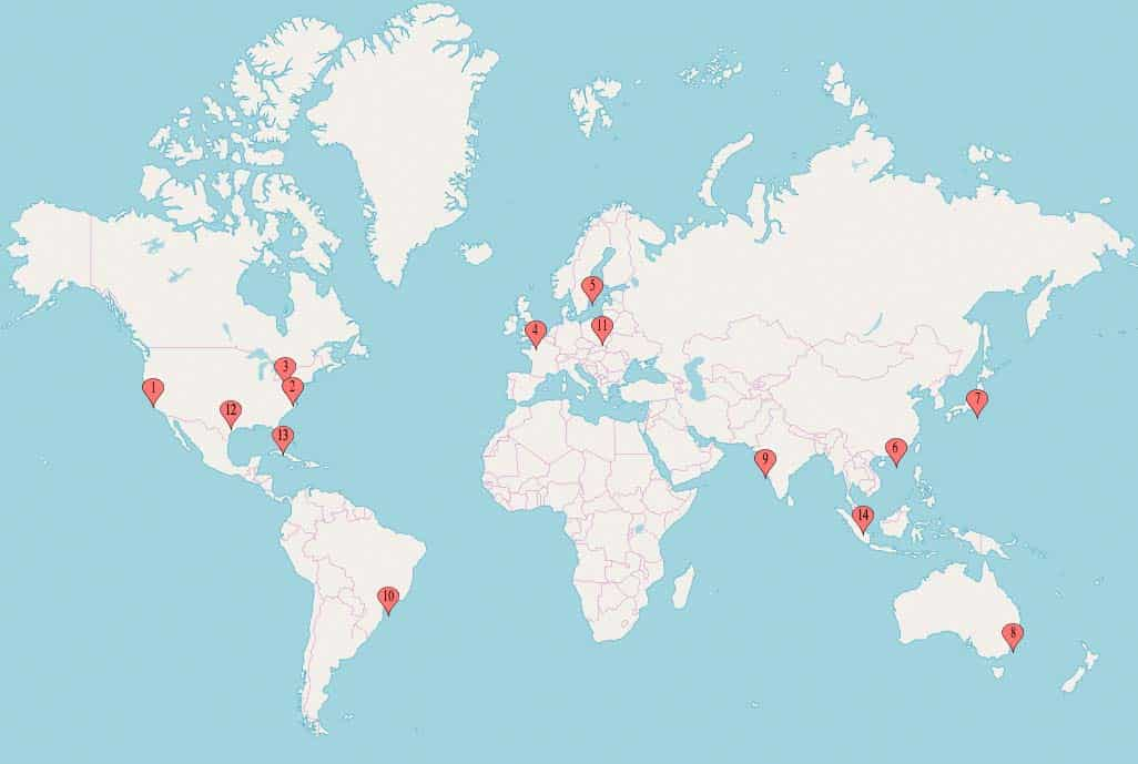 Shift8 CDN endpoint geographic map